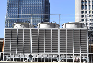 Air conditioning cooling towers in front