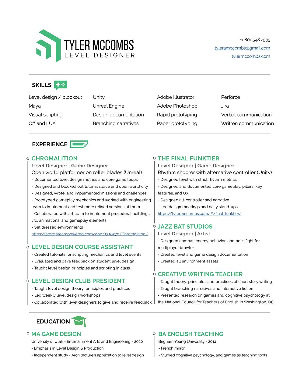 Tyler McCombs Resume - Level Design (Web