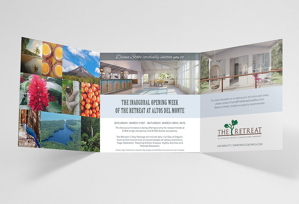 Marketing collateral design, hotel branding, hospitality marketing, branding agency Costa Rica