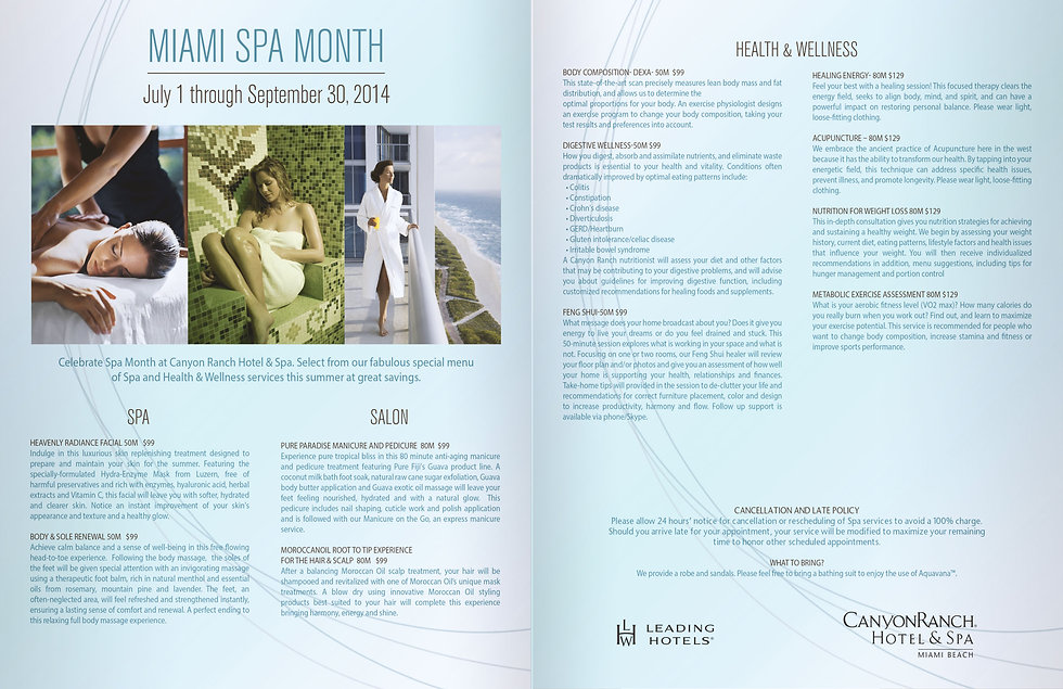 Miami Spa Month, Canyon Ranch hotel, Carillon hotel branding, health and wellness branding, hotel marketing agency, leading hotels of the world, branding agency miami fl