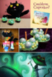 Halloween treats, picture book treats, cauldron cupcakes