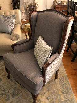 Wing back chair in Maxwell Fabrics