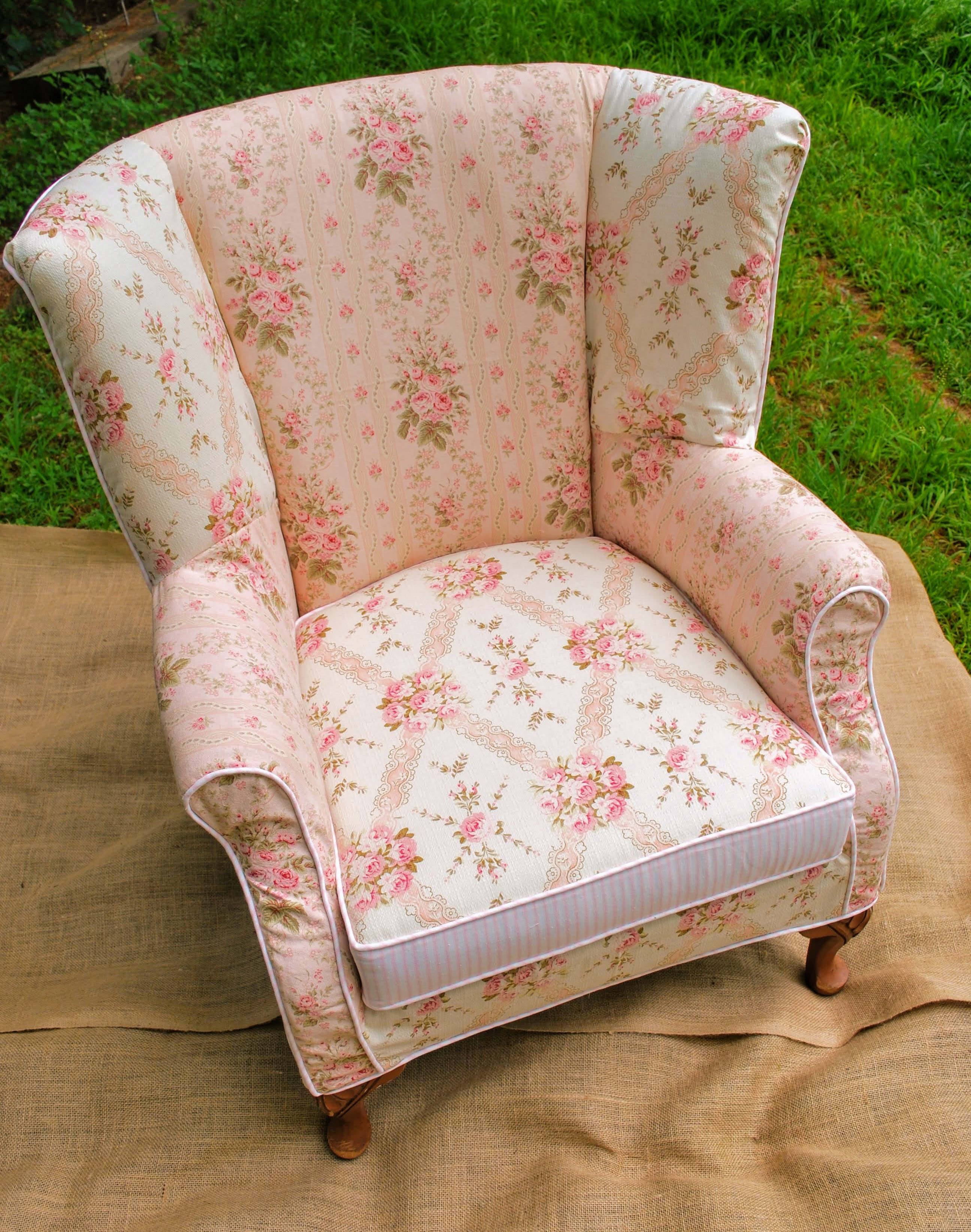 wing back slipcover patchwork
