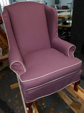 Slip Cover Purple Wingback