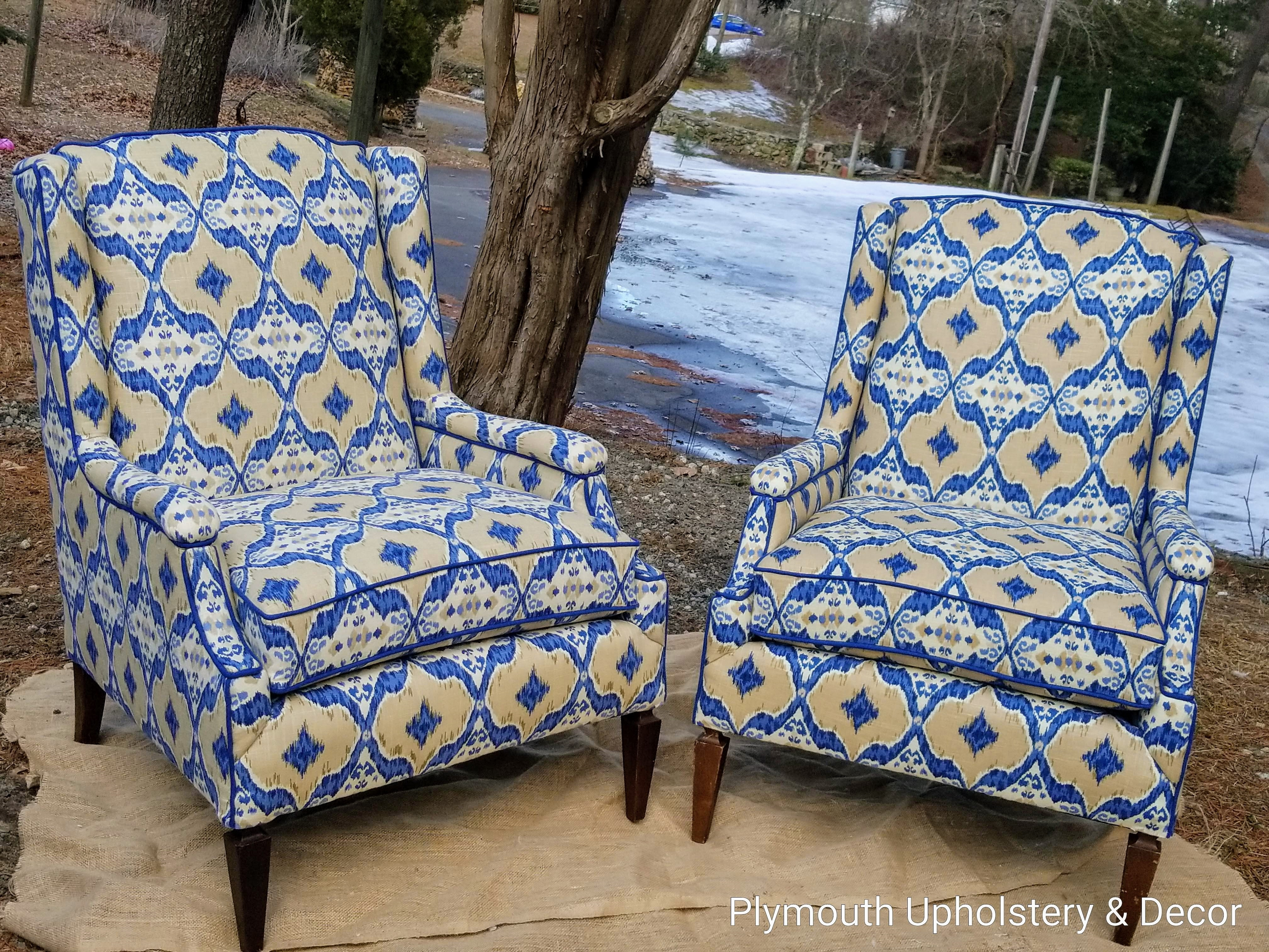 Mid Century Wing backs in Ikat fabri