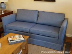 sofa reupholstered in blue