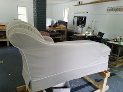 Chaise slipcover in cotton twill