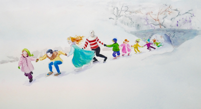...but Glory and her friends loved most skating on the frozen river in wintertime.