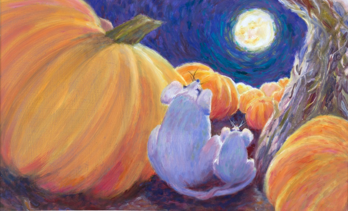 As we watched, so did others, I imagined; down in our small pumpkin patch, with squeaking and creeping...