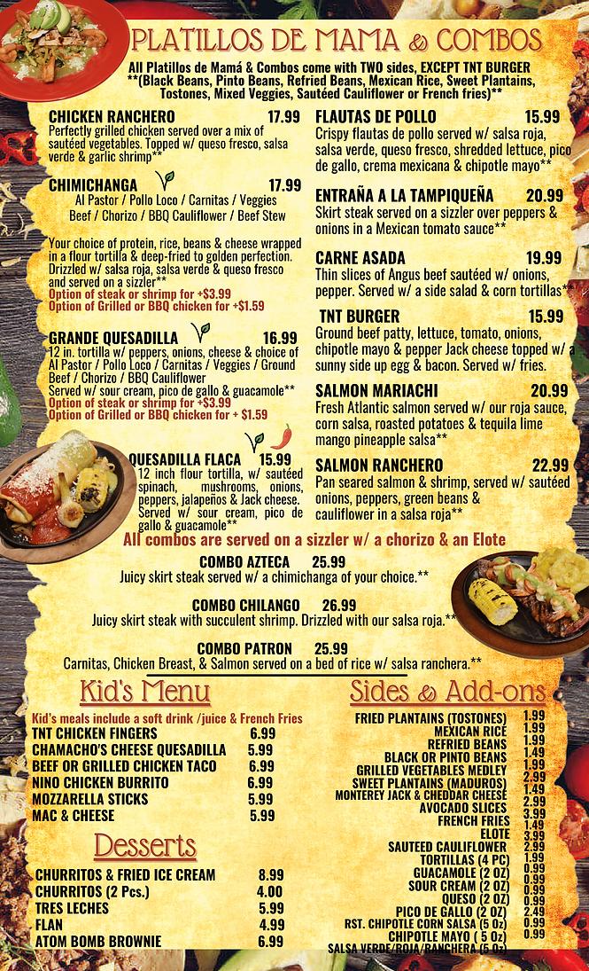 TnT Dinner Menu Platillos - Combos pg 4-
