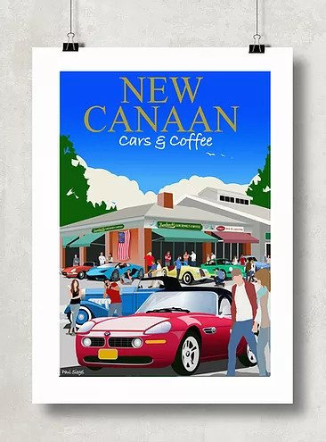 Framed Cars & Coffee Poster