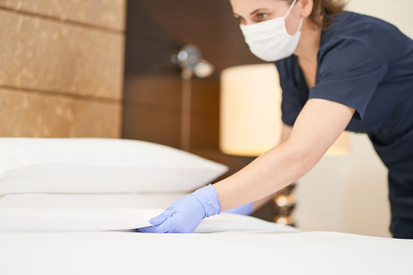 Young housemaid cleaning a luxury hotel