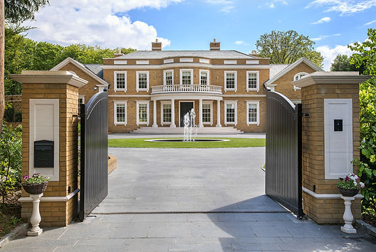 Looking through grand entrance gates to