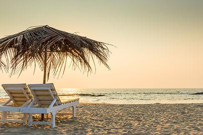 Palm frond beach umbrella