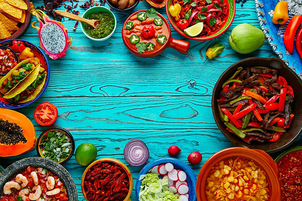Mexican food mix copyspace frame colorfu