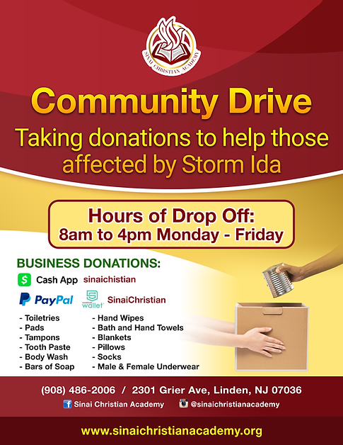 Flyer for Sinai Christian Academy - Community Drive copia.png