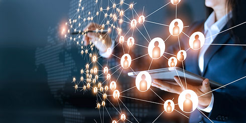 Business woman drawing global structure networking and data exchanges customer connection