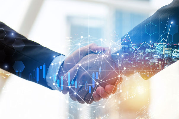 business man investor handshake with glo