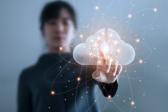 Business woman touching connect to data information on cloud computing network. Cloud comp