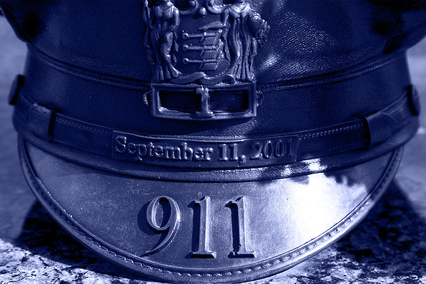 Police hat commemorating September 11th