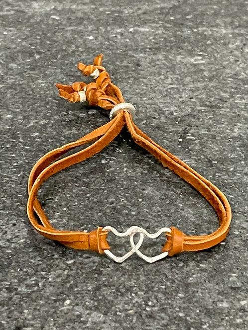 Petite double heart bracelet