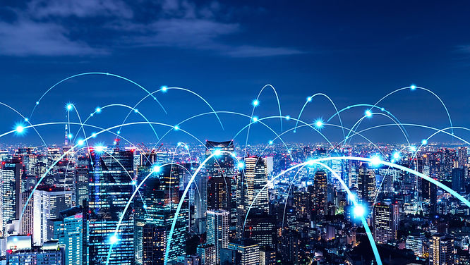 Smart city and communication network concept. 5G. LPWA (Low Power Wide Area). Wireless com