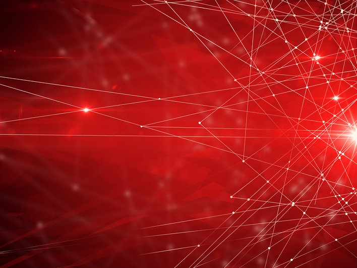 Abstract connected dots on bright red ba