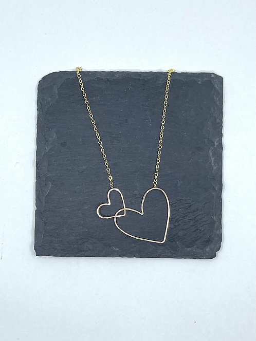 14k Gold Filled Interlocking Heart Necklace