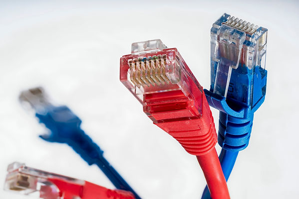 red and blue connectors for Internet net