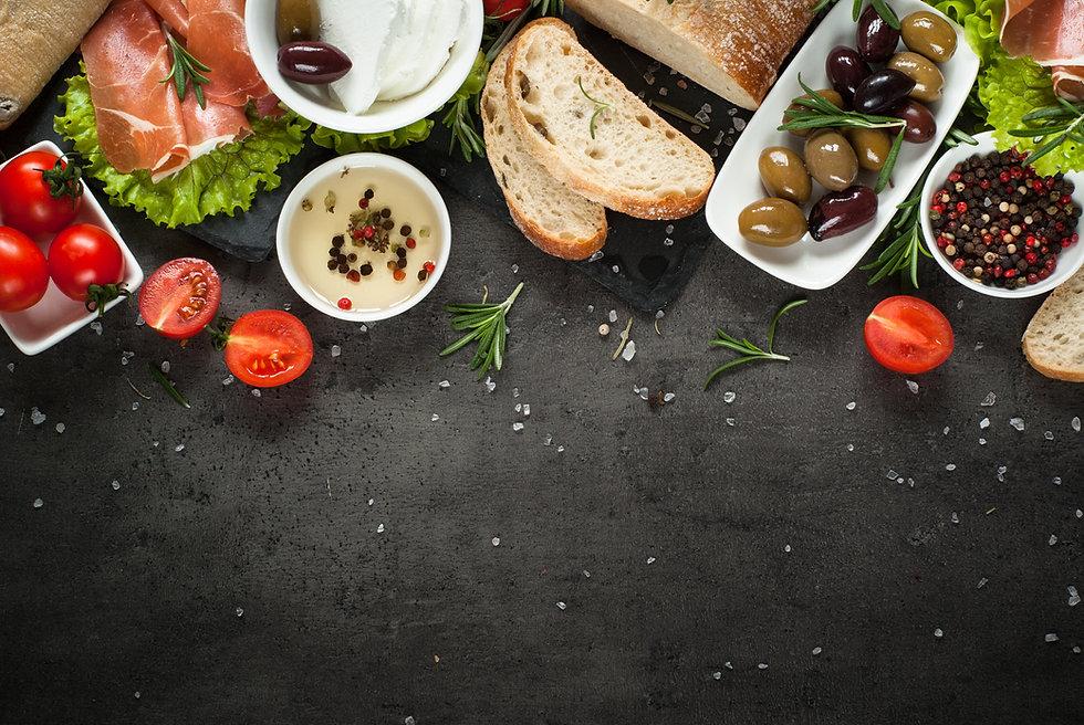 Mediterranean Food background. Ciabatta