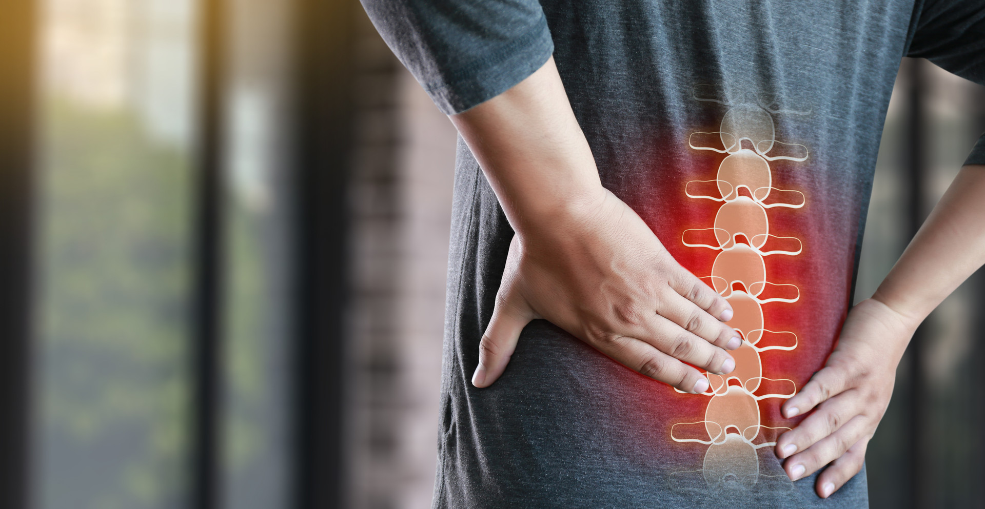 young man Feeling suffering  Lower back