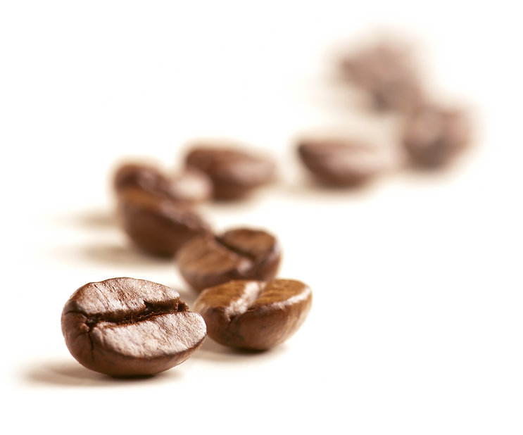 Coffee Beans draw a zigzag line isolated