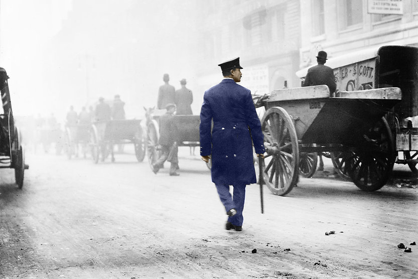 Historic photo, police officer and wagons