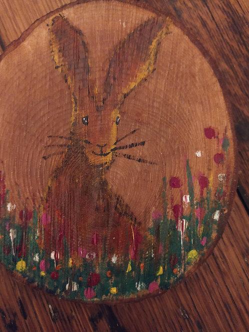 Happy Rabbit Wood Slice