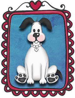 hand drawn white dog with pink cheeks, big paws in cute frame topped with red heart