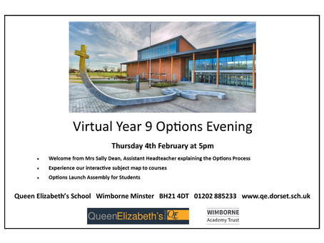 Year 9 Options Launch           Thursday 4th February at 5pm