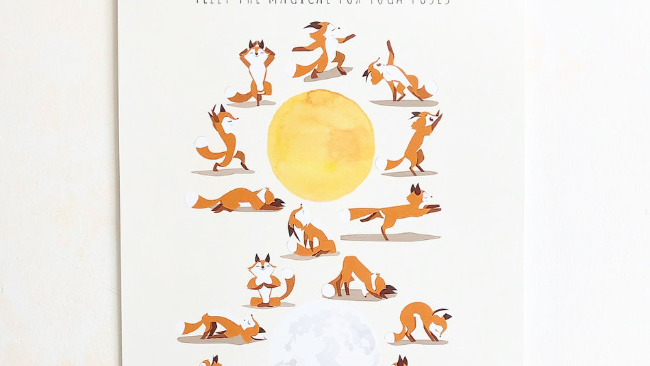 Fezzy The Magical Fox™ Super Hero Training Yoga Poses Poster
