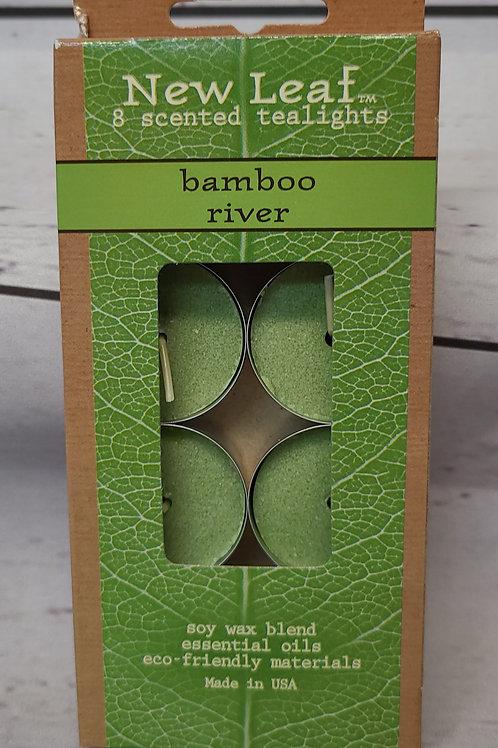 8PC TEA LIGHT BAMBOO RIVER