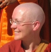 Sister Santussika is an American Therevadan Buddhist nun. She started teaching chi gong and energy healing in 1997, began teaching meditation in 1999, began guiding people through self-reflective, visualization processes for resolving suffering and stress in 2001, and completed a four-year interfaith seminary program, receiving a Master of Divinity degree in 2002. She first took robes in 2005 and ordained as a samaneri (10-precept nun) in 2010. She has trained at Amaravati and Chithurst Buddhist Monasteries in England and Aloka Vihara in San Francisco. She now resides at the One Heart Center in Los Altos Hills, California.