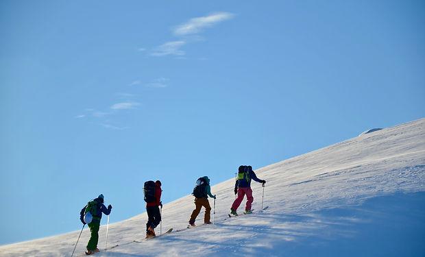 Ski touring on a bluebird day.