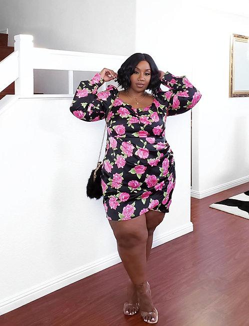 Fashion Nova Floral Satin Dress 3X