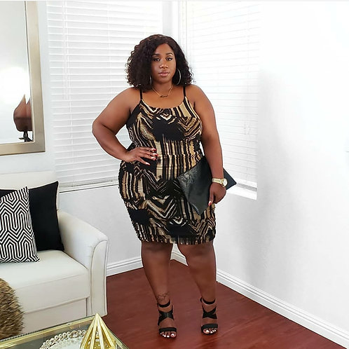 Black and Nude Printed Dress 2X