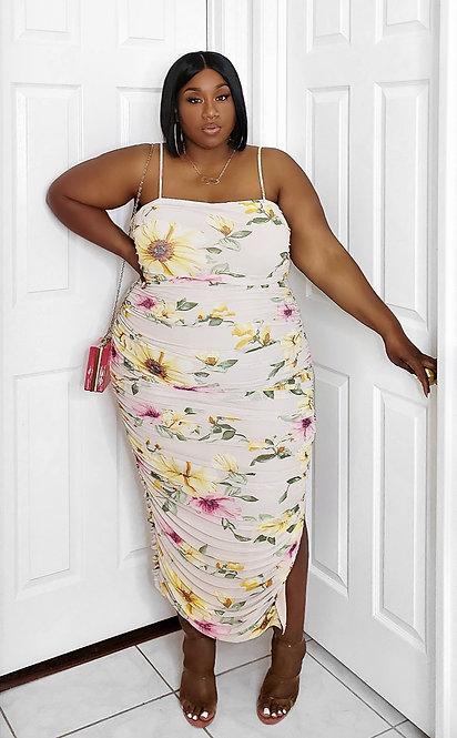 Fashion Nova Ruched Floral Print Maxi Dress 3X