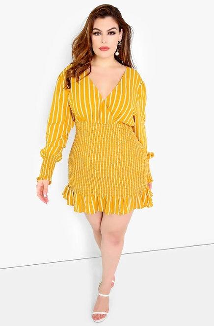 Rebdolls Yellow Striped Dress 2X