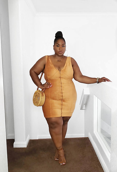 Plus Size Sleeveless Corduroy Dress