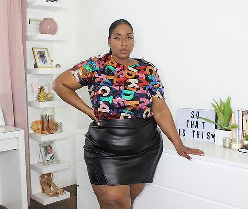 Rainbow Faux Leather Skirt 3X