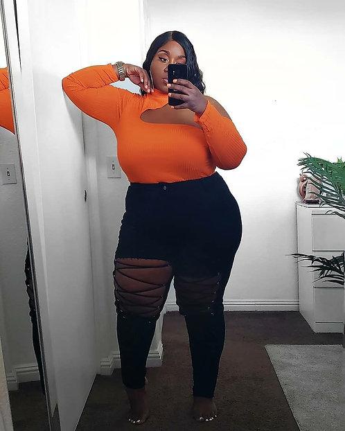 Fashion Nova Orange Bodysuit