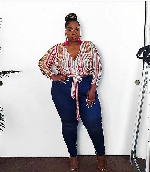 Fashion Nova Front-Tie Crop Top 2X
