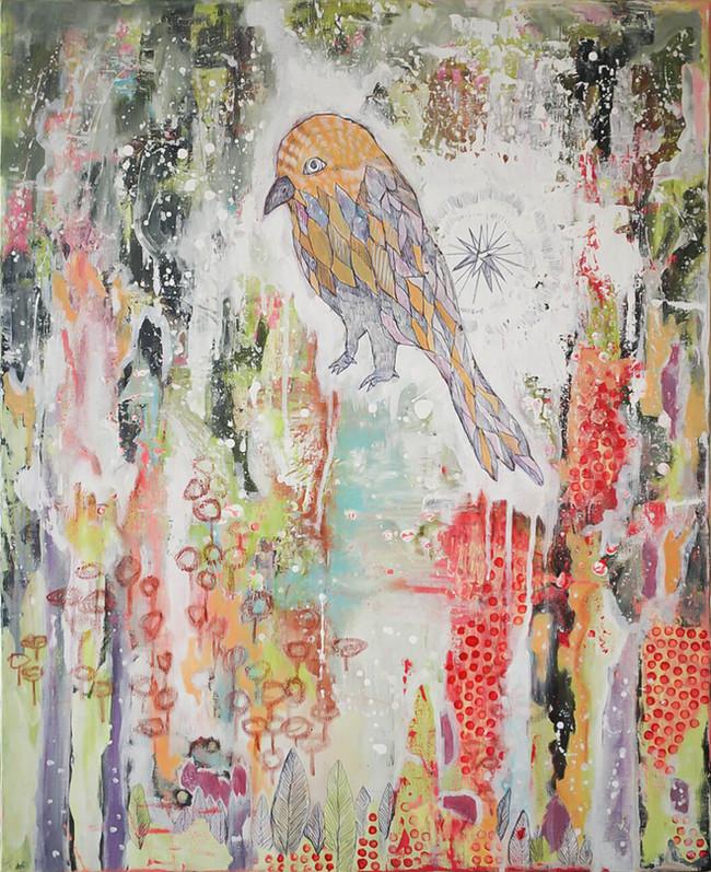 Bird in flowers