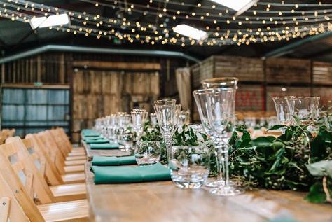 Grange Barn, Rustic Tables